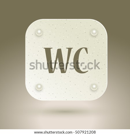 WC icon. Toilet restroom sign isolated on gray background. Raster version.