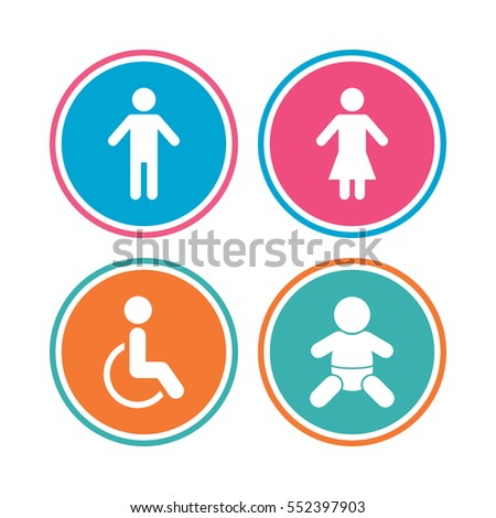 WC toilet icons  Human male or female signs  Baby infant or toddler   Disabled. Disabled Toilet Sign Stock Images  Royalty Free Images   Vectors