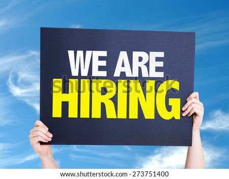 We Are Hiring card with sky background - stock photo