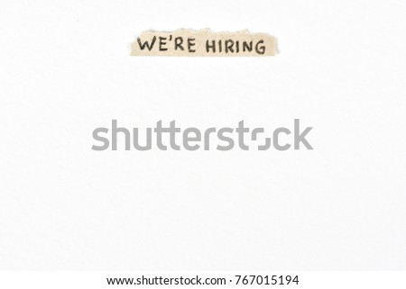 We are hiring handwritten billboard at the top on textured white background
