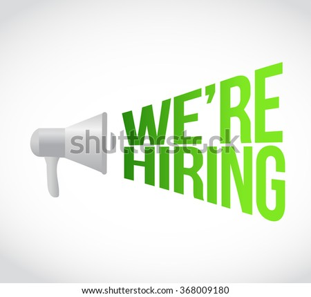 we are hiring megaphone message at loud. concept illustration design - stock photo