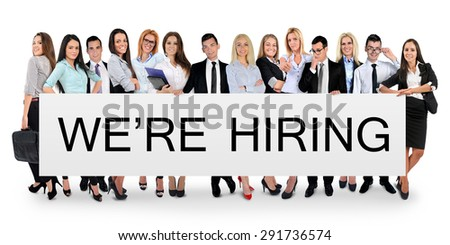 We are hiring word writing on white banner - stock photo