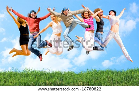 we are many, we are happy - stock photo