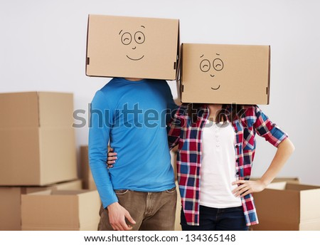We are so happy that we found perfect home for us! - stock photo
