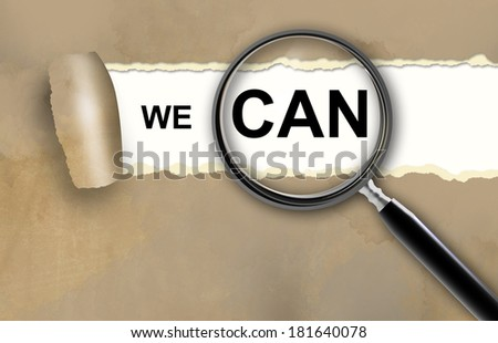 we can and magnifying glass made in 2d software - stock photo