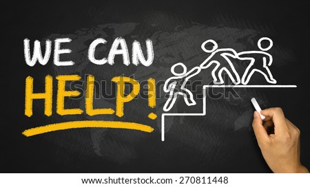 we can help concept hand drawing on blackboard - stock photo