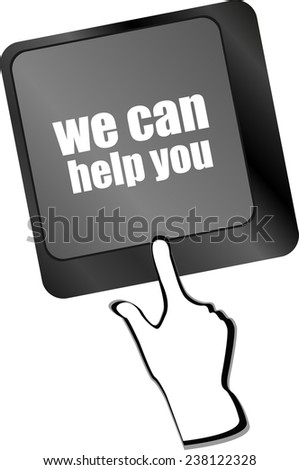 we can help you word on computer keyboard key - stock photo