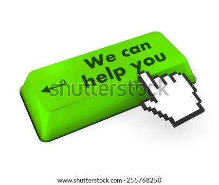 we can help you written on computer button - stock photo