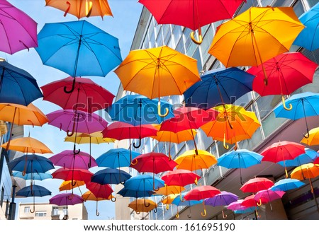We can stop the rain! The interesting decoration on one of Belgrade streets, Serbia. - stock photo