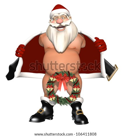 We Hang Ours on the Door: Santa opening his coat to flash. Not wearing pants, nether region hidden by a wreath. Isolated on white. Bah Humbug Series - stock photo