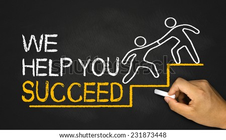 we help you succeed concept - stock photo