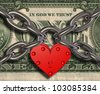 We love money - heart lock and money - stock photo