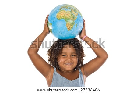 We must protect our planet. Beautiful girl on a white background to land in their hands - stock photo