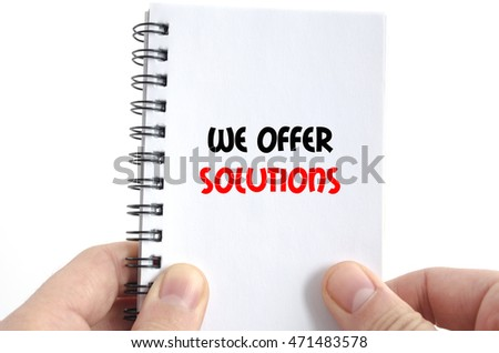 We offer solutions text concept isolated over white background