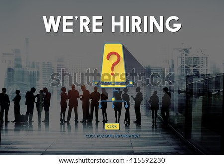 We're Hiring Job Search Occupation Recruitment Concept - stock photo