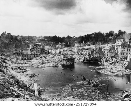 We sure liberated the hell out of this place,' noted an American soldier of St. Lo, France. The strategic crossroads was 95% destroyed in the battle of July 7-19, 1944. World War 2. - stock photo