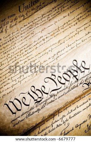 we the people - United States Constitution. Closeup, high contrast with light added grain. - stock photo