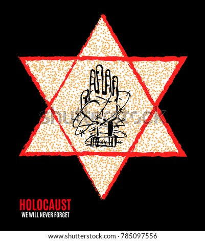 We Will Never Forget Holocaust Remembrance Stock Illustration