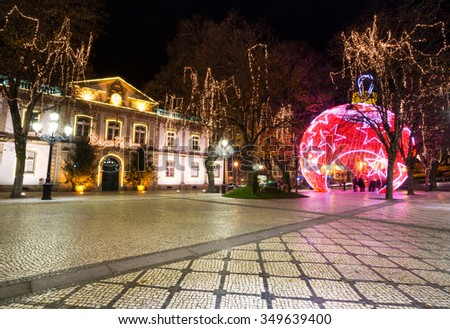 We Wish you a Merry Christmas, Viseu, Portugal - stock photo