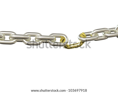 Weak Link - Silver and Gold. Chain pulled to the breaking point. Isolated. - stock photo