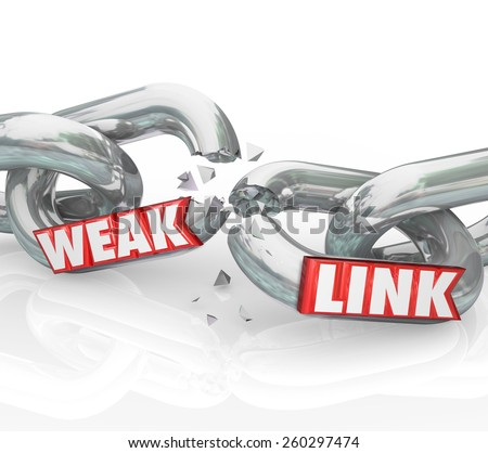 Weak Link words on broken chain links to illustrate a bad or poor performer that leads to failure in an organization, business or company - stock photo