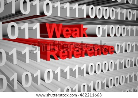 weak reference in the form of binary code, 3D illustration