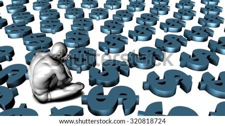 Weak US Dollar or Weakening Finances and Man Crying - stock photo