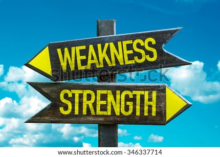 Weakness - Strength signpost with sky background