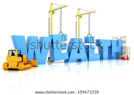 Wealth building , under construction or repair isolated on a white background - stock photo