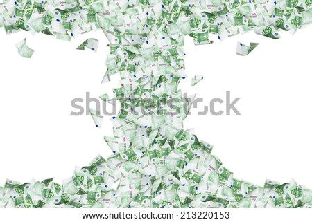 Wealth concept, one hundred euro banknotes flying and falling down in tornado, isolated on white background.