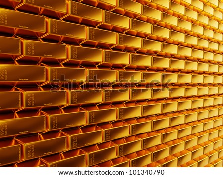 Wealth: gold bars or bullions. Useful as background. large resolution - stock photo