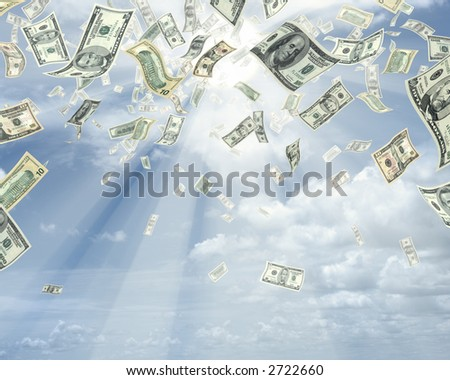 Wealth idea in a metaphor of rain of dollars. - stock photo
