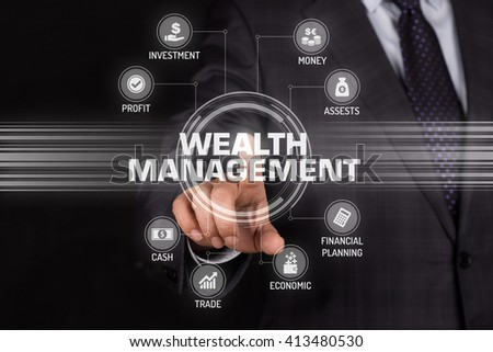 WEALTH MANAGEMENT TECHNOLOGY COMMUNICATION TOUCHSCREEN FUTURISTIC CONCEPT