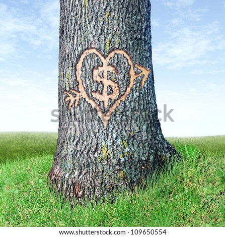 Wealth planning and investing early as a financial concept with a close up of a tree trunk with a dollar symbol and heart shape carved into the bark as an icon of young investors. - stock photo