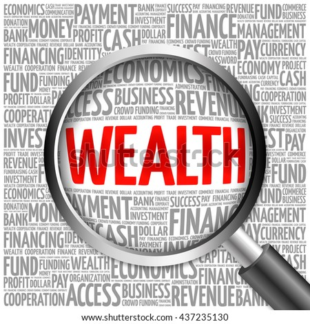 WEALTH word cloud with magnifying glass, business concept 3D illustration