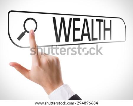 Wealth written in search bar on virtual screen - stock photo