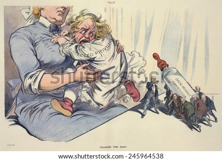 WEANING THE BABY. Cartoon of an infant labeled 'Protected Privilege' clinging to a nurse labeled 'High Tariff' because President Wilson wants to feed her from a baby bottle. April 30 1913. - stock photo