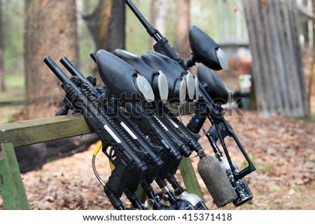 weapon for paintball - stock photo