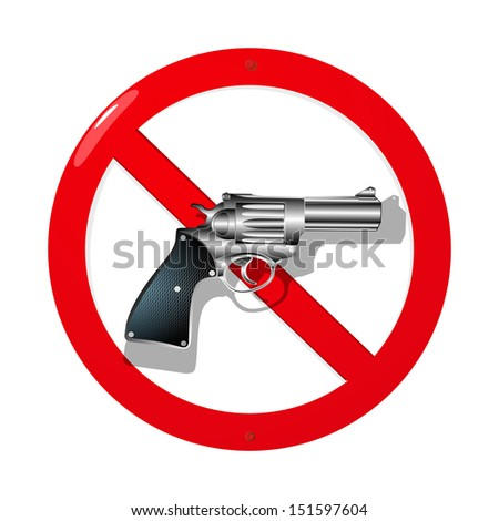 Weapon restriction sign in 3D. Isolated and grouped objects over white background - stock photo