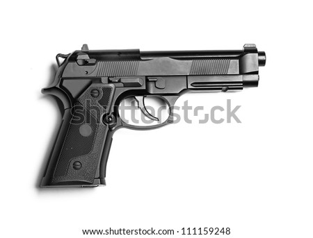 Weapon series. Modern U.S. Army handgun M9 close-up. Isolated on a white background. Left side view. Studio shot.
