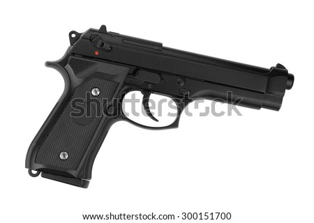 Weapon series. Modern U.S. Army handgun M9 close-up. Isolated on a white background. Studio shot.
