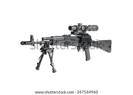 Weapon with optical sight - stock photo