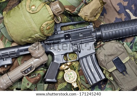weapons and military equipment of special operations forces soldier - stock photo