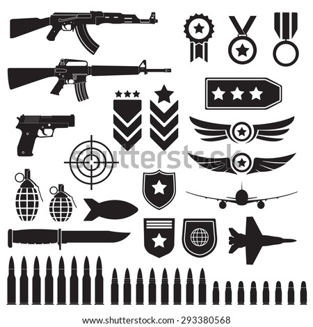 Weapons and military set. Sub machine guns, pistol and bullets black icons on white background. Symbolics and badge for army. - stock photo
