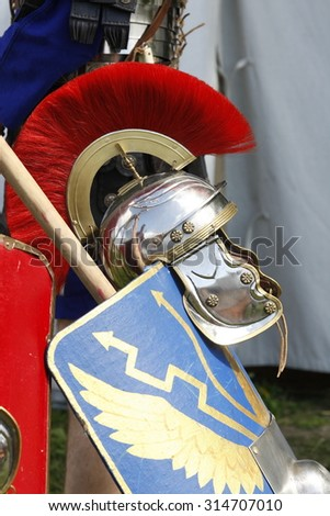 Weapons,Historical accessories Roman ligioneries military camp, the beginning of the reign of Gaius Julius Caesar. the military campaign in Gaul. - stock photo
