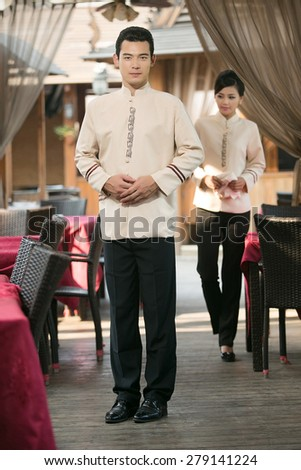 Wear clothing occupation Chinese waiters