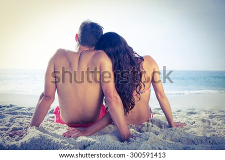 Wear view of couple hugging at the beach