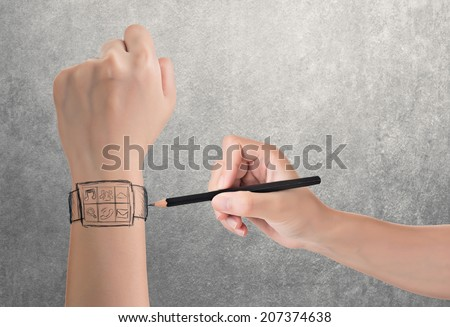 Wearable device concept of digital watch, hand drawing. - stock photo