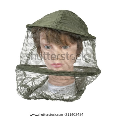 Wearing a bee keeper hat to keep bees and other bugs out of the person's face - path included - stock photo