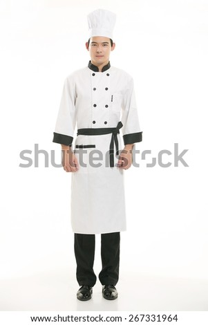 Wearing all kinds of clothing chef dietitian in front of white background - stock photo